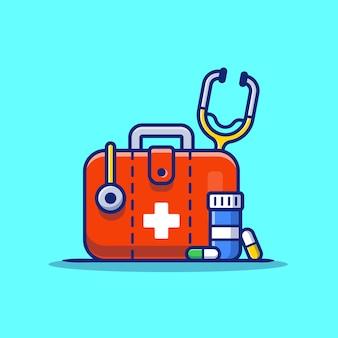 Ilustración de icono de dibujos animados de bolsa de salud médica, estetoscopio, tarro y píldoras. concepto de icono de medicina sanitaria aislado premium. estilo de dibujos animados plana