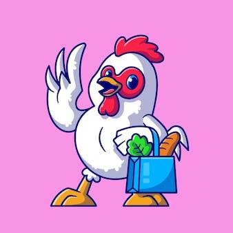 Ilustración de icono de dibujos animados de compras de comestibles de pollo lindo. concepto de icono de comida animal aislado. estilo de dibujos animados plana