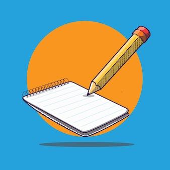 Ilustración de icono de dibujos animados de concepto de notas con papel y lápiz
