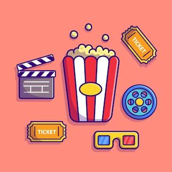 Ilustración de icono de dibujos animados de conjunto de cine. concepto de icono industrial de personas aislado. estilo de dibujos animados plana
