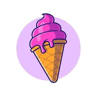 Ilustración de icono de dibujos animados de cono de helado. concepto de icono de comida dulce aislado. estilo de dibujos animados plana