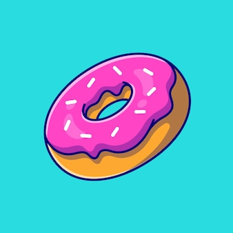Ilustración de icono de dibujos animados de donut flotante. concepto de icono de objeto de comida aislado. estilo de dibujos animados plana