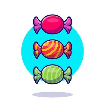 Ilustración de icono de dibujos animados de envoltorio de caramelo.
