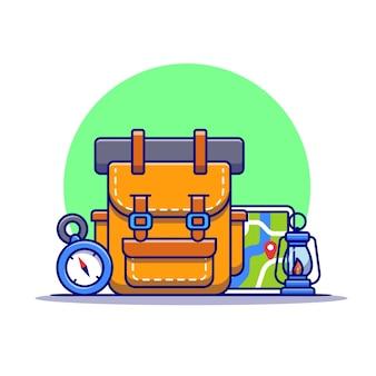 Ilustración de icono de dibujos animados de equipo de camping y senderismo. concepto de icono de recreación de la naturaleza