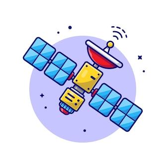 Ilustración de icono de dibujos animados de espacio satelital volador.