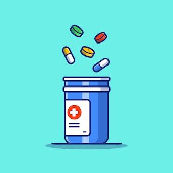 Ilustración de icono de dibujos animados de frasco de medicina, tabletas y píldoras. concepto de icono de medicina sanitaria aislado premium. estilo de dibujos animados plana
