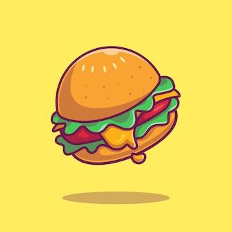 Ilustración de icono de dibujos animados de hamburguesa con queso.