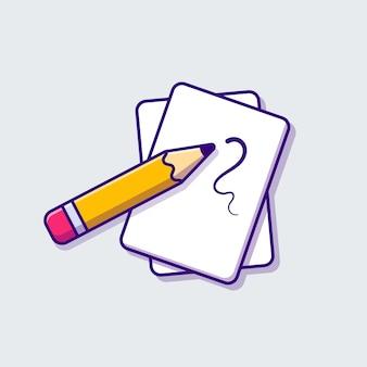 Ilustración de icono de dibujos animados de lápiz y papel. concepto de icono de objeto de educación aislado. estilo de dibujos animados plana