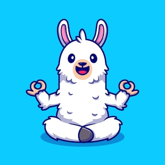 Ilustración de icono de dibujos animados lindo alpaca haciendo yoga.