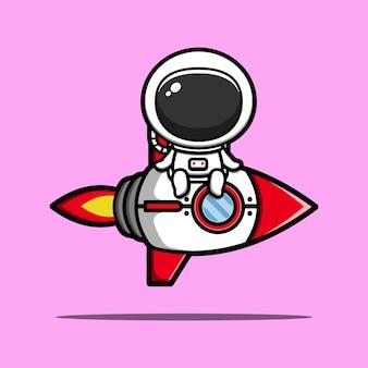 Ilustración de icono de dibujos animados lindo astronauta montando cohete