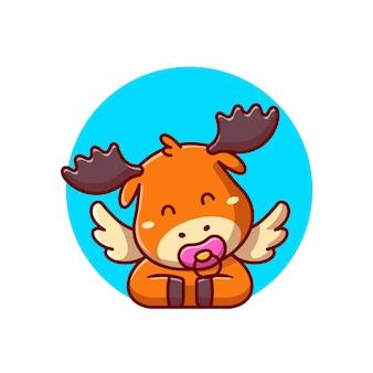 Ilustración de icono de dibujos animados lindo bebé alce con chupete. concepto de icono de naturaleza animal aislado. estilo de dibujos animados plana