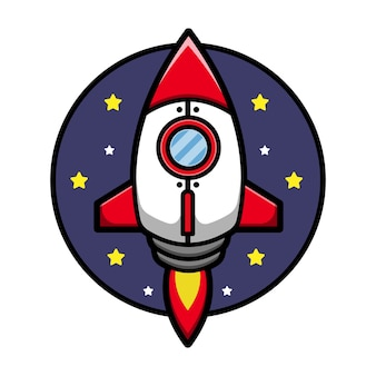 Ilustración de icono de dibujos animados lindo cohete