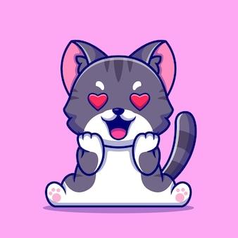 Ilustración de icono de dibujos animados lindo gato enamorarse.
