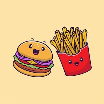 Ilustración de icono de dibujos animados lindo hamburguesa y papas fritas. concepto de icono de personaje de comida rápida aislado premium. estilo plano de dibujos animados