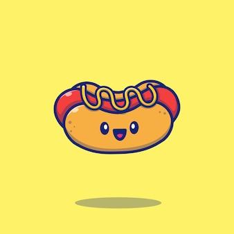 Ilustración de icono de dibujos animados lindo hot dog. concepto de icono de comida aislado. estilo plano de dibujos animados