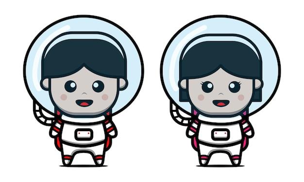 Ilustración de icono de dibujos animados lindo niño y niña astronauta