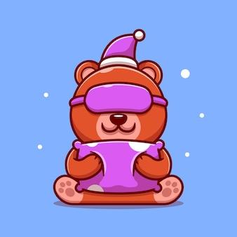 Ilustración de icono de dibujos animados lindo oso durmiendo con almohada