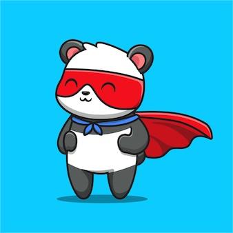 Ilustración de icono de dibujos animados lindo panda hero.