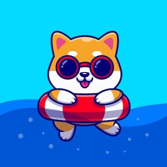 Ilustración de icono de dibujos animados lindo perro shiba inu natación