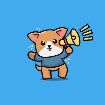 Ilustración de icono de dibujos animados lindo perro