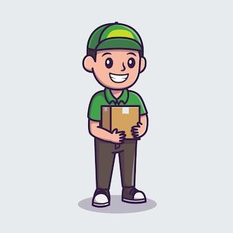 Ilustración de icono de dibujos animados de paquete de envío de mensajería. concepto de icono de profesión de personas aislado. estilo de dibujos animados plana