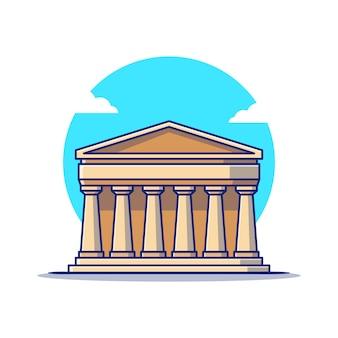 Ilustración del icono de dibujos animados del partenón. famoso edificio viajando icono concepto aislado. estilo de dibujos animados plana