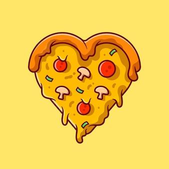 Ilustración de icono de dibujos animados de pizza de amor.