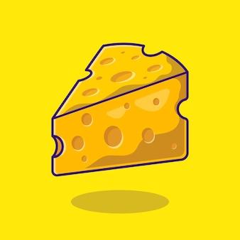 Ilustración de icono de dibujos animados de queso.