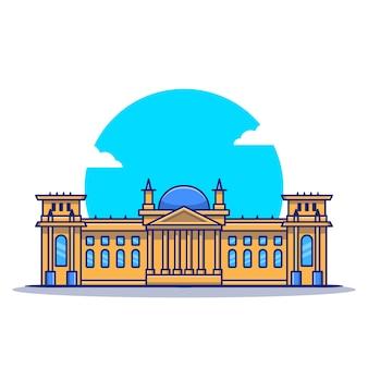 Ilustración del icono de dibujos animados del reichstag. famoso edificio viajando icono concepto aislado. estilo de dibujos animados plana