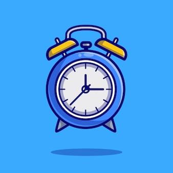 Ilustración de icono de dibujos animados de reloj despertador.