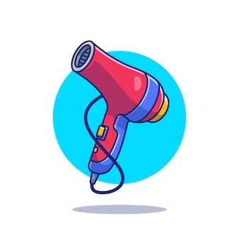 Ilustración de icono de dibujos animados de secador de pelo. concepto de icono de herramientas de peluquería aislado. estilo de dibujos animados plana