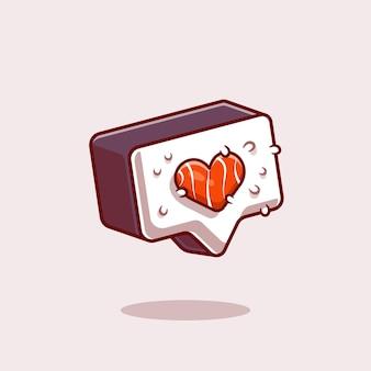 Ilustración de icono de dibujos animados de símbolo de amor de sushi.