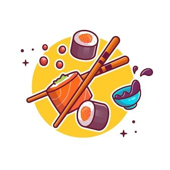 Ilustración de icono de dibujos animados de sushi, palillos y shoyu. concepto de icono de comida japonesa aislado. estilo de dibujos animados plana