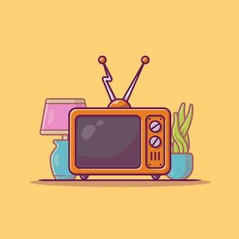 Ilustración de icono de dibujos animados de televisión vintage.