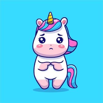 Ilustración de icono de dibujos animados triste lindo unicornio.