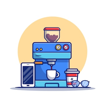 Ilustración de icono de dibujos animados de vaina de máquina de café, taza, taza, teléfono y anteojos. concepto de icono de máquina de café premium. estilo de dibujos animados