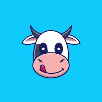 Ilustración de icono de dibujos animados de vector de cabeza de vaca