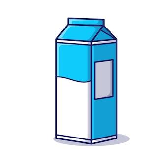 Ilustración de icono de dibujos animados de vector de caja de leche