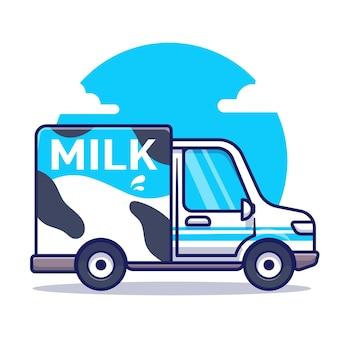 Ilustración de icono de dibujos animados de vector de coche de leche