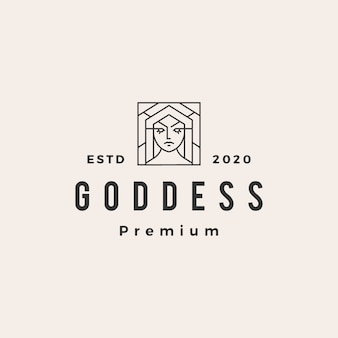 Ilustración de icono de diosa hipster vintage logo
