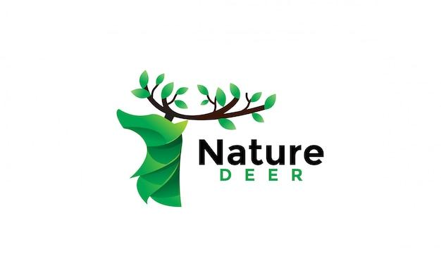 Ilustración de icono de diseño de logotipo de ciervos de naturaleza