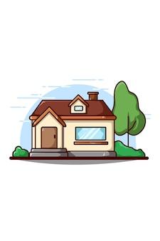 Ilustración de icono de edificio de casa