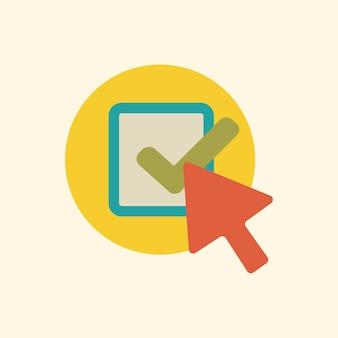 Ilustración del icono de flecha de verificación