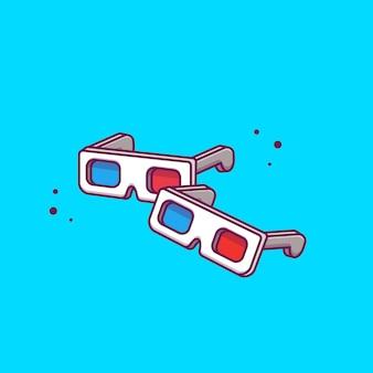 Ilustración de icono de gafas de película 3d. concepto de icono de cine de película aislado. estilo plano de dibujos animados
