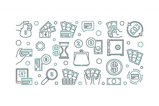 Ilustración de icono horizontal de esquema de concepto de dinero
