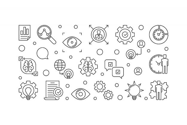 Ilustración de icono horizontal de esquema de declaración de visión