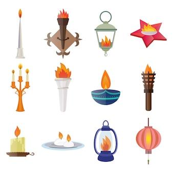 Ilustración de icono de llama de campeón de victoria de antorcha de fuego.