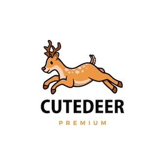Ilustración de icono de logo de dibujos animados lindo ciervo