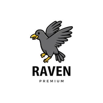 Ilustración de icono de logo de dibujos animados lindo cuervo