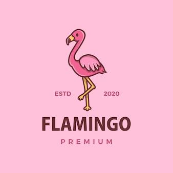 Ilustración de icono de logo de dibujos animados lindo flamenco
